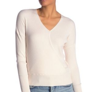 Elodie White Wrap Sweater